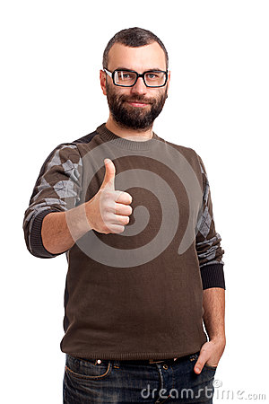 Handsome young man with beard thumbs up