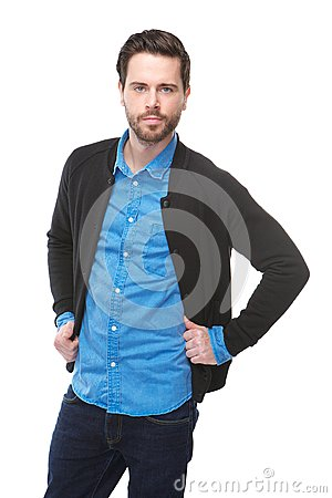 Handsome young man in blue shirt
