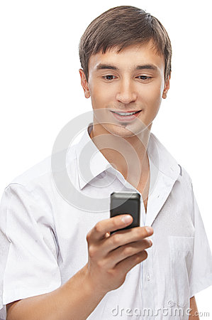 Handsome young man with a cell phone