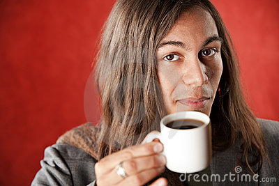 Handsome Young Man Drinking Coffee
