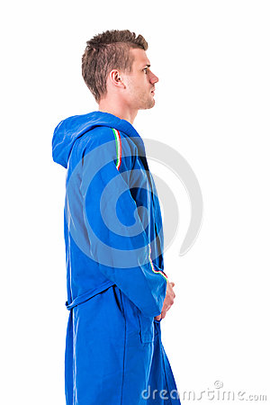Free Handsome Young Man Wearing Blue Bathrobe, Isolated Royalty Free Stock Photos - 53881448