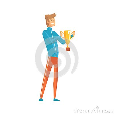 Free Handsome Young Sportsman Holding Winner Trophy. Lucky Guy. Cartoon Male Character In Sport Clothing With Golden Cup In Royalty Free Stock Image - 106194346