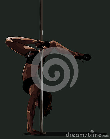 Handstand near the pole.