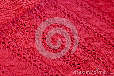 Handwork of red woolen worsted pattern design