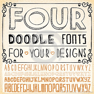 Free Handwriting Alphabets. Hand Drawn Fonts Royalty Free Stock Photos - 30456508