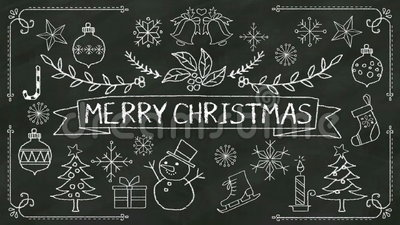 Handwriting 'Merry Christmas' at chalkboard. with various graphic. Handwriting 'Merry Christmas' at chalkboard stock illustration