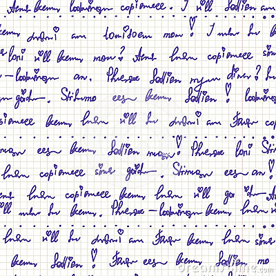 Handwriting on the paper seamless pattern