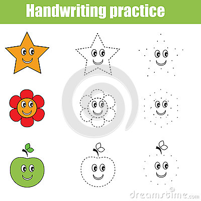 Free Handwriting Practice Sheet. Educational Children Game Stock Photography - 73818692