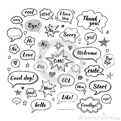 Free Handwriting  Set Of Speech Bubbles With Dialog Words Stock Photography - 87330352