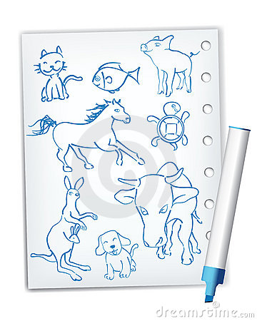 Handwriting style animal drawings