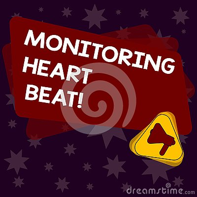 Handwriting text writing Monitoring Heart Beat. Concept meaning Measure or record the heart rate in real time Megaphone Inside Stock Photo
