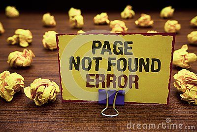 Handwriting text writing Page Not Found Error. Concept meaning message appears when search for website doesnt exist Yellow sticky Stock Photo