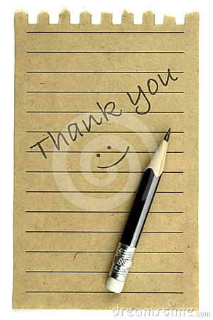 Handwriting  Thank you  on a natural note paper