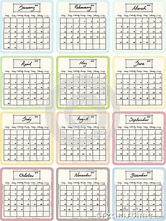 Handwritten 2012 Calendar with grunge Elements.