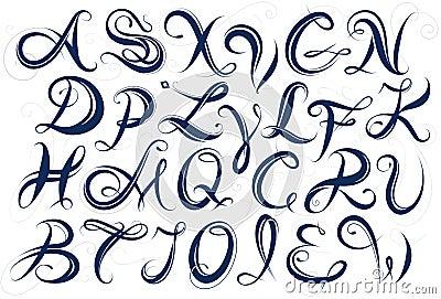 Handwritten Alphabet Capital Letters Stock Vector - Image: 53858056