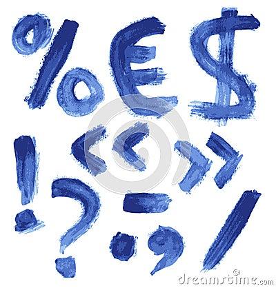 Handwritten blue watercolor alphabet