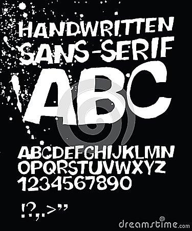 Handwritten grunge sans-serif ABC