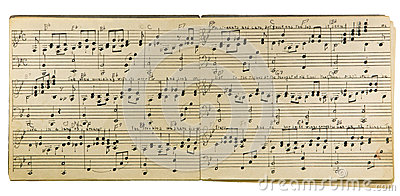 music written hand handwritten notes musical pages were created isolated yellowed tattered brittle darkened