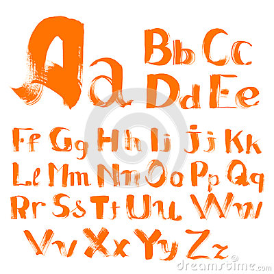 Handwritten by a textured  brush alphabet