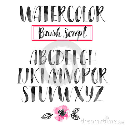 Free Handwritten Watercolor Calligraphic Font. Modern Brush Lettering Stock Images - 56674284
