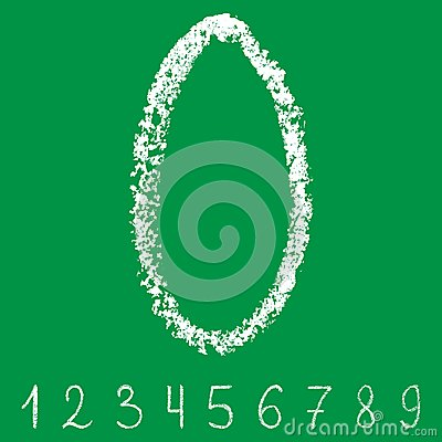 Handwritten white chalk arabic numbers with transparent layers on green background Vector Illustration