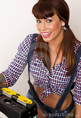 Handy Woman Level Ladder Suspenders Plaid