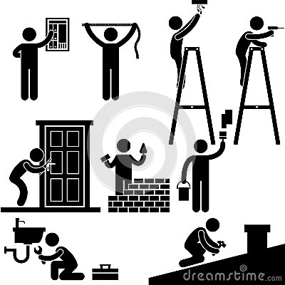 Handyman Electrician Working Fixing Repair