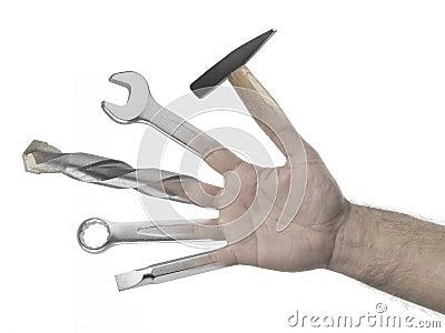 Handyman hand on a white background
