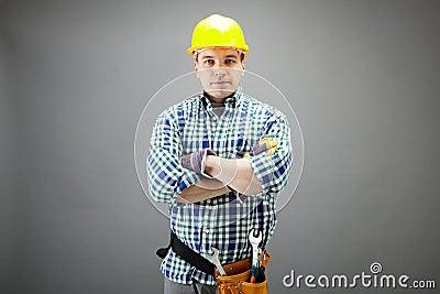 Handyman in helmet