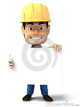 Handyman holding blank white paper