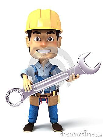 Handyman holding wrench tool