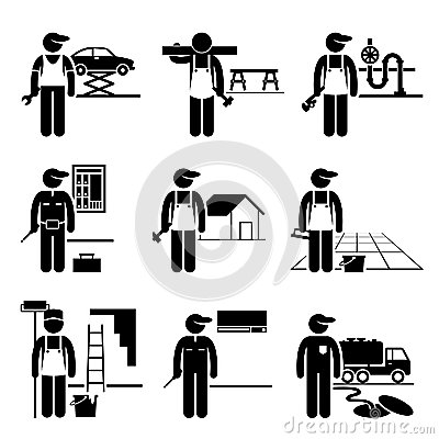 Free Handyman Labour Skilled Jobs Occupations Careers Stock Photography - 35246202