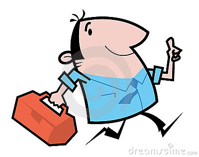 Handyman running cartoon illustration