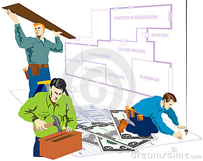 Handymen doing house repair