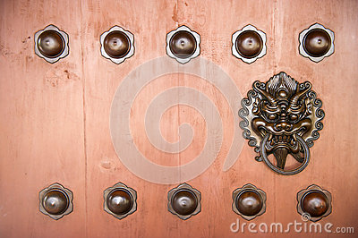 Hang Door Knocker Metal  in Nunnery temple, Hong Kong.