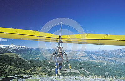 Hang Glider taking off of cliff Editorial Photography