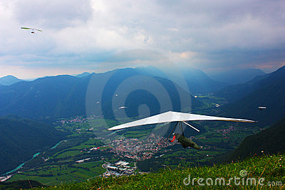 Hang gliding competitions  over Kobala mountain Editorial Stock Image