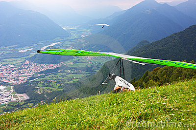 Hang gliding competitions  over Kobala mountain Editorial Photography