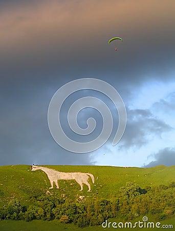 Hang Gliding off Westbury White Horse