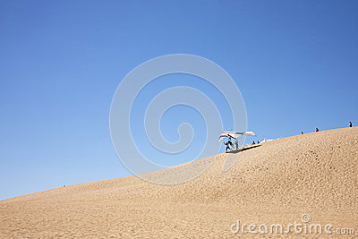 Hang Gliding from Sand Dunes Editorial Photo