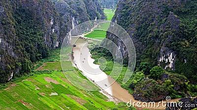 Hang Mua-padieveldenlandschap in Ninh Binh, Vietnam timelapse stock footage
