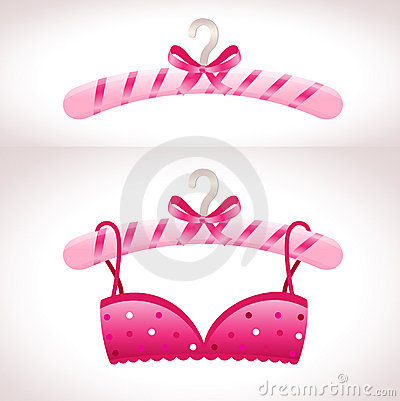 Hanger. Pink bra on a hanger