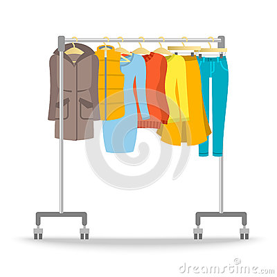 Free Hanger Rack With Warm Women Clothes Winter Collection Stock Image - 77269591