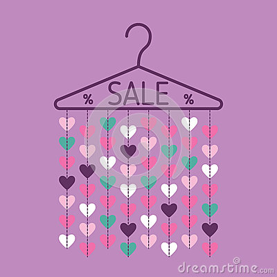 Free Hanger With Heart Garland. Sale Banner Royalty Free Stock Photo - 83540015