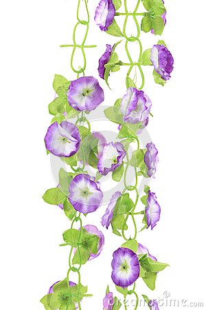 Hanging artificial flowers.