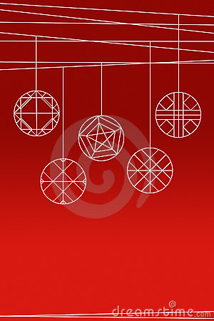 Hanging balls on red background