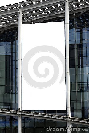 Hanging blank billboard on glass curtain wall