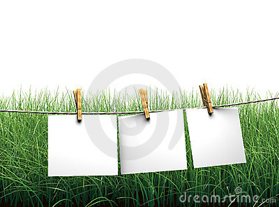 Hanging blank paper on clothesline in field