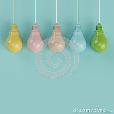 Free Hanging Colorful Pantone Pastel Light Bulbs  Different Idea On Light Blue Background Royalty Free Stock Photos - 83519528