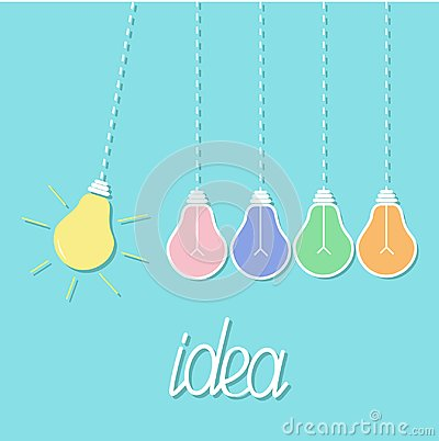 Free Hanging Colorful Yellow Light Bulb. Switch On Off Lamp. Perpetual Motion. Dash Line. Idea Concept. Flat Design. Blue Pastel Backgr Stock Photo - 110354200